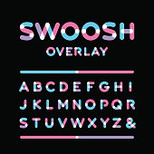 Rounded font. Vector alphabet with overlay effect letters.