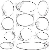 Collection of eleven simple elliptical shaped frames of different sizes, decorated with swirl floral ornaments.File contain EPS8 and large JPEG.