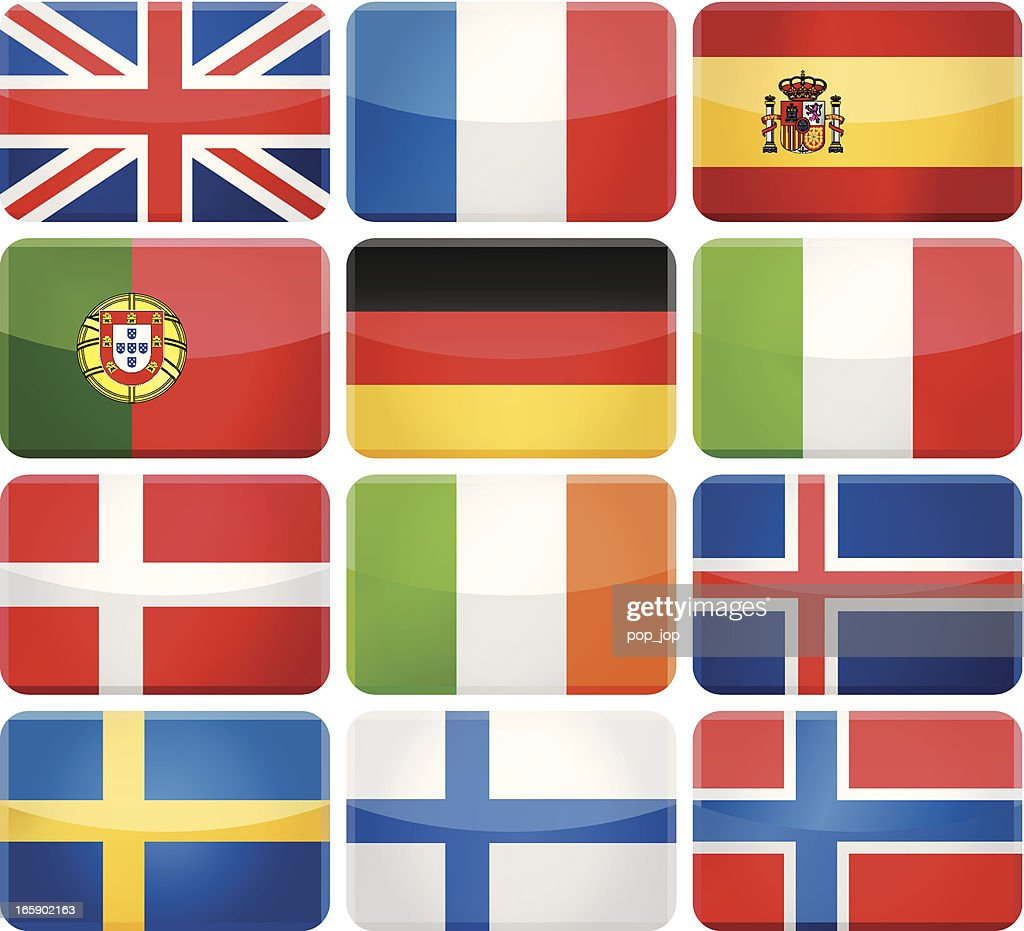 Rounded rectangle flag icons - Western and Nothern Europe : Vector Art