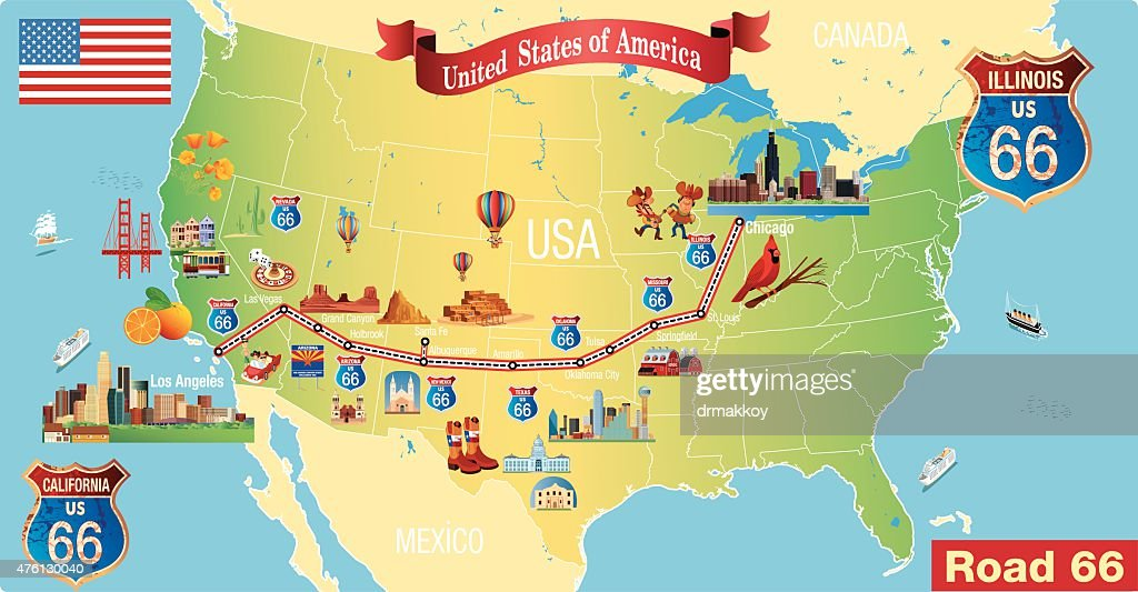 Route 66 Map Vector Art Getty Images