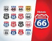 Route 66 badges, t-shirt apparel graphics.