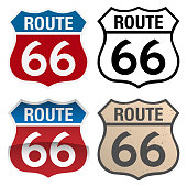 Route 66 Vector Signs including red white and blue, with and without reflection gradient, black and white and distressed aged version, very clean illustration, vector version is organized in easy to e