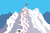 Route to the Top - climbing, alpinism, mountaineering / Career growth / Goal achieving concept - Vector infographic