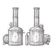 Row of tanks and wooden barrel in brewery beer. Isolated on white background. Vintage vector engraving illustration for web, poster, label, invitation to oktoberfest festival and party.