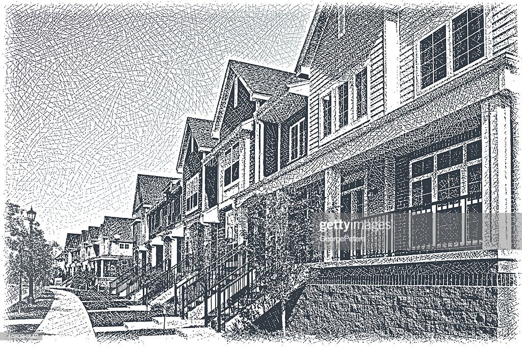 Row Of Town Houses : Vector Art