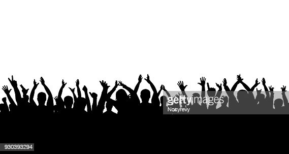 Сrowd of people applauding silhouette : stock vector
