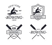 Rowing team. Vector emblem of rowing crew with paddles. Rower silhouette