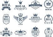 Royal and luxury badges set. Royal badge and luxury vintage emblem. Vector illustration