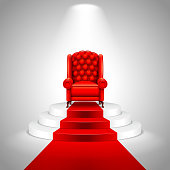 Royal armchair on stairs with red carpet vector background