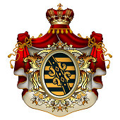Heraldic background with a red ermine royal mantle with a crown and shield