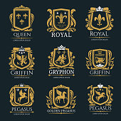 Heraldry vector logo set. Gryphon Royal logo for VIP hotel, restaurant or any business. Griffin icon in black and yellow colors. Queen royal sign. Pegasus or Golden pegasus vector logo on black backgr