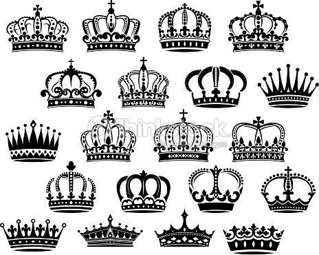 royal medieval heraldic crowns set vector art thinkstock. Black Bedroom Furniture Sets. Home Design Ideas