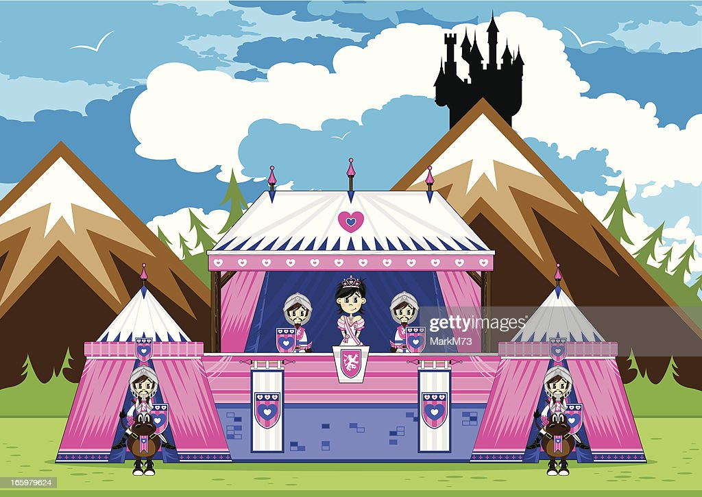 Royal Princess with Guards at Marquee Scene : Vector Art
