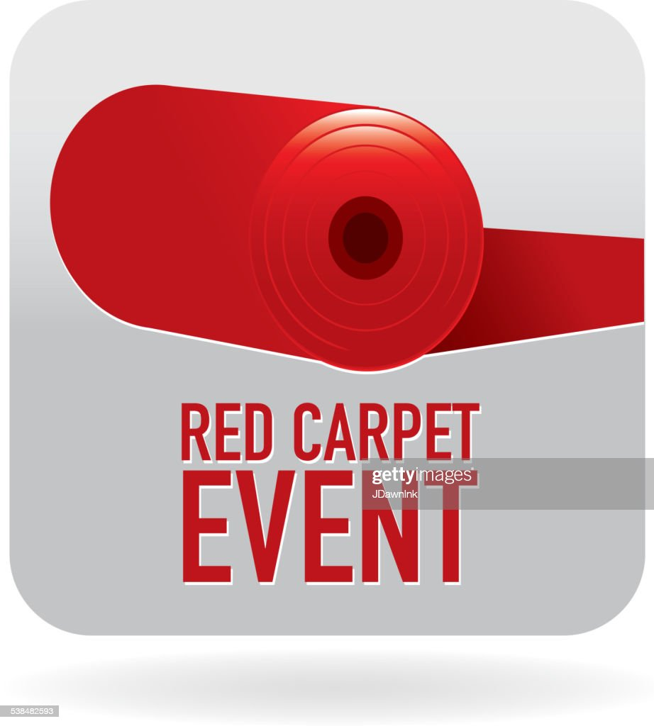 carpet roll vector. royalty free red carpet roll event with text icon : vector art r