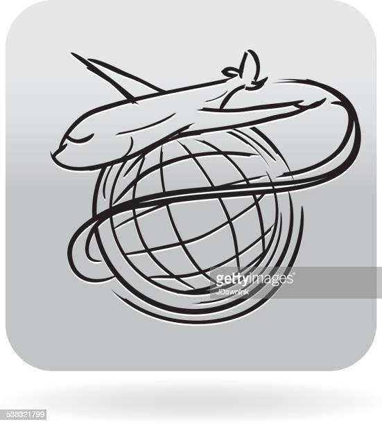 Sin royalties de viajes temáticos con deambulación en círculos mundo icono de pasajeros