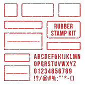 Rubber stamp letters. Red stamps frame and rubber letterpress symbols with font alphabet numbers. Marks kit customizable text buffer grunge vector isolated icons set
