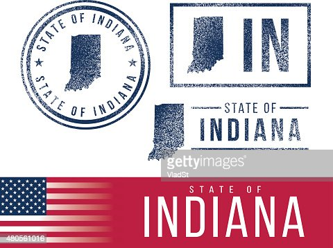 USA rubber stamps - State of Indiana : Vector Art