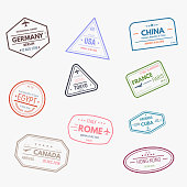 Passport visa rubber stamps. Set of travel arrival tourism stamps.