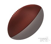 Vector Rugby ball with leather texture. Vector Illustration Eps-10.
