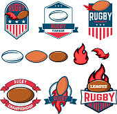 Rugby league. Rugby labels, emblems and design elements. Rugby championship. Rugby icons. Vector design elements.
