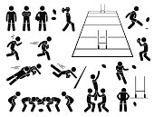 A set of human pictogram representing the sport of rugby player action and poses. This also include the rugby field from 3d perspective.