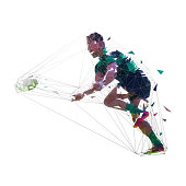 Rugby player throwing ball, low polygonal vector illustration. Team sport