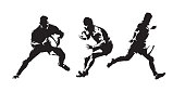Rugby, set of rugby players isolated vector silhouettes. Abstract ink drawings. Team sport