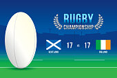 Vector of Rugby ball championship with team competition and scoreboard.