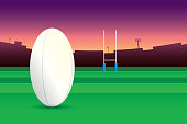 Rugby ball isolated on green field and stadium on purple sky background.