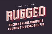 Rugged vector stylish 3d display typeface, font, uppercase letters and numbers, alphabet, typography. Global swatches.