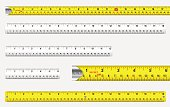 Rulers and tape measures with metric and imperial markings vector..