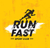 Run Fast Sport Club Creative Vector Illustration On Rough Texture Yellow Background