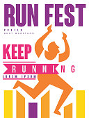 Run fest, keep running colorful poster, template for sport event, marathon, championship, tournament, can be used for card, banner, print, leaflet vector Illustration, web design