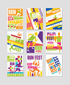 Run fest posters set, running marathon, sport and competition colorful design element for card, banner, print, badge vector Illustrations, web design