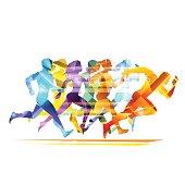 Run people illustration in vector