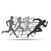 Run people on white background in vector