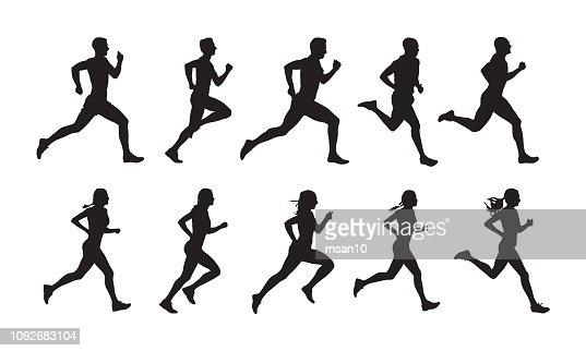 実行すると、実行中の人々、分離ベクトル シルエットのセットします。男性と女性ランナーのグループ : ベクトルアート