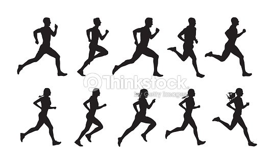 Run, set of running people, isolated vector silhouettes. Group of  men and women runners : stock vector