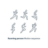 Running person side view line icon, motion sequence set, outline runner , marathon and triathlon running concept, vector thin stroke linear design