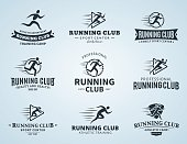 Set of running club labels. Running club labels with sample text. Running icons for sport tournaments, organizations and marathons. Running man and woman icons.