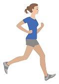 Running girl vector illustration isolated, run woman.