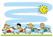 Banner, running kids, funny creative illustration, eps. Two teams of competitors of little kids. Commemorative sheet for camp activities.