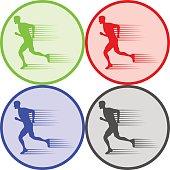 Running man, a running man icon. Flat design, vector illustration, vector.