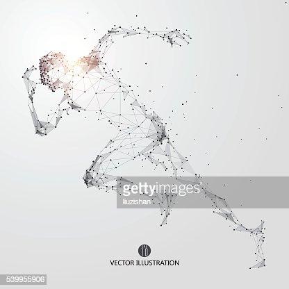 Laufender Mann Punkte und Linien und verbunden zu werden. : Vektorgrafik