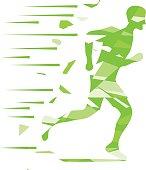 Running man, the logo of a running man in green. Flat design, vector illustration, vector.