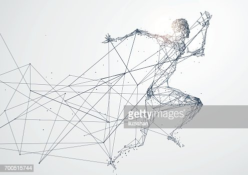 Running Man,Network connection turned into, vector illustration. : Vector Art
