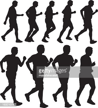 Running men silhouettes : Vectorkunst