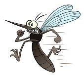Scared cartoon mosquito runs away.