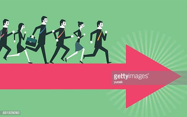 running people on arrow