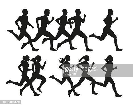 Les personnes en cours d'exécution, vector silhouettes isolées. Courez, hommes et femmes : clipart vectoriel